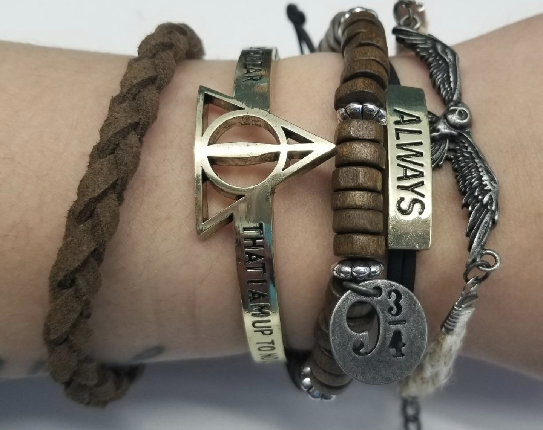 reviewer wearing the bracelet set