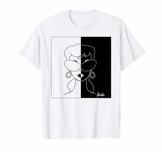 A white tee with an illustration of a '50s style barbie face, half in black and half in white
