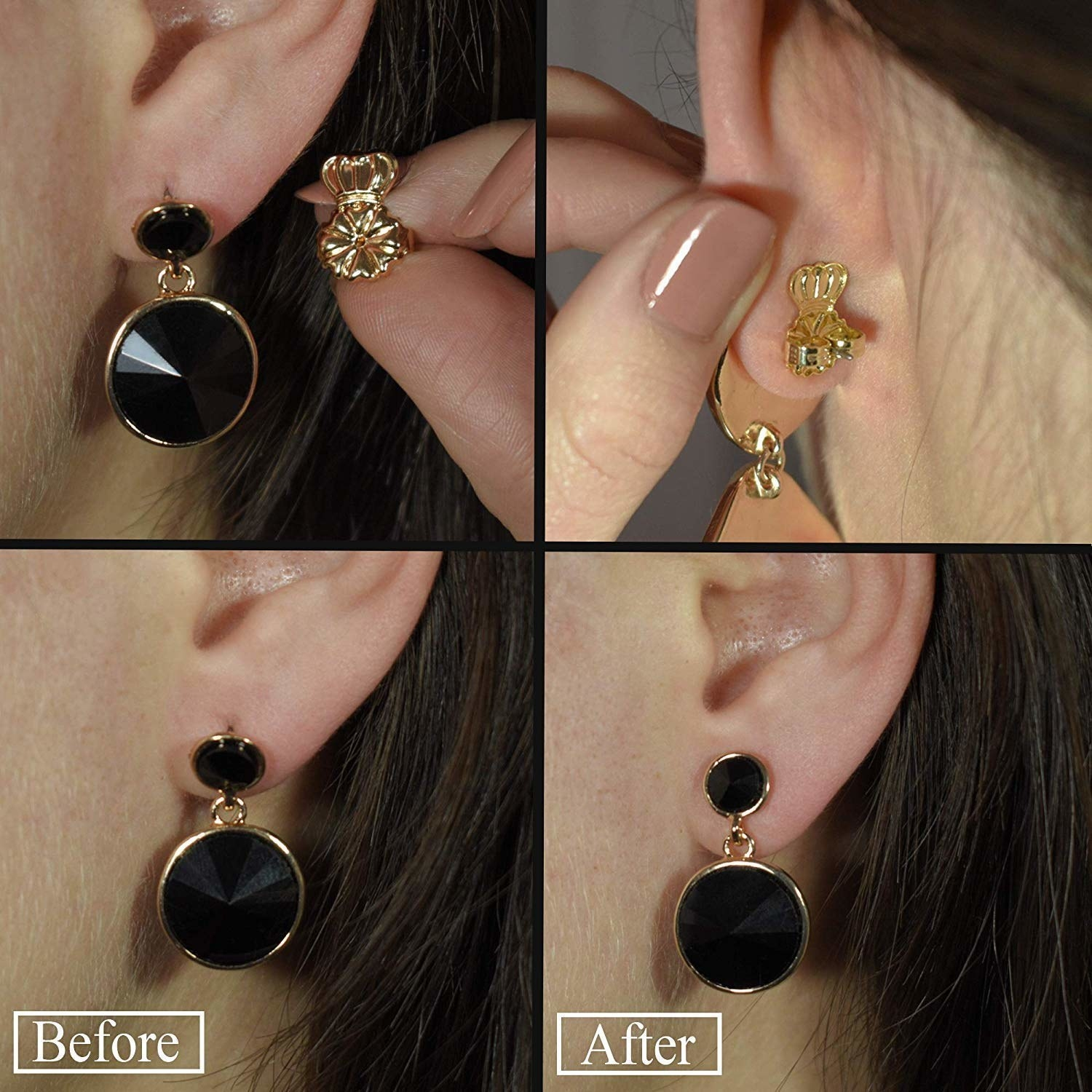 showing the difference between a heavy earring without and then with the lifter