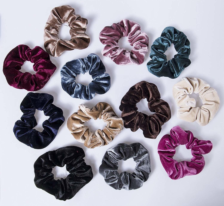 12 colorful velvet scrunchies