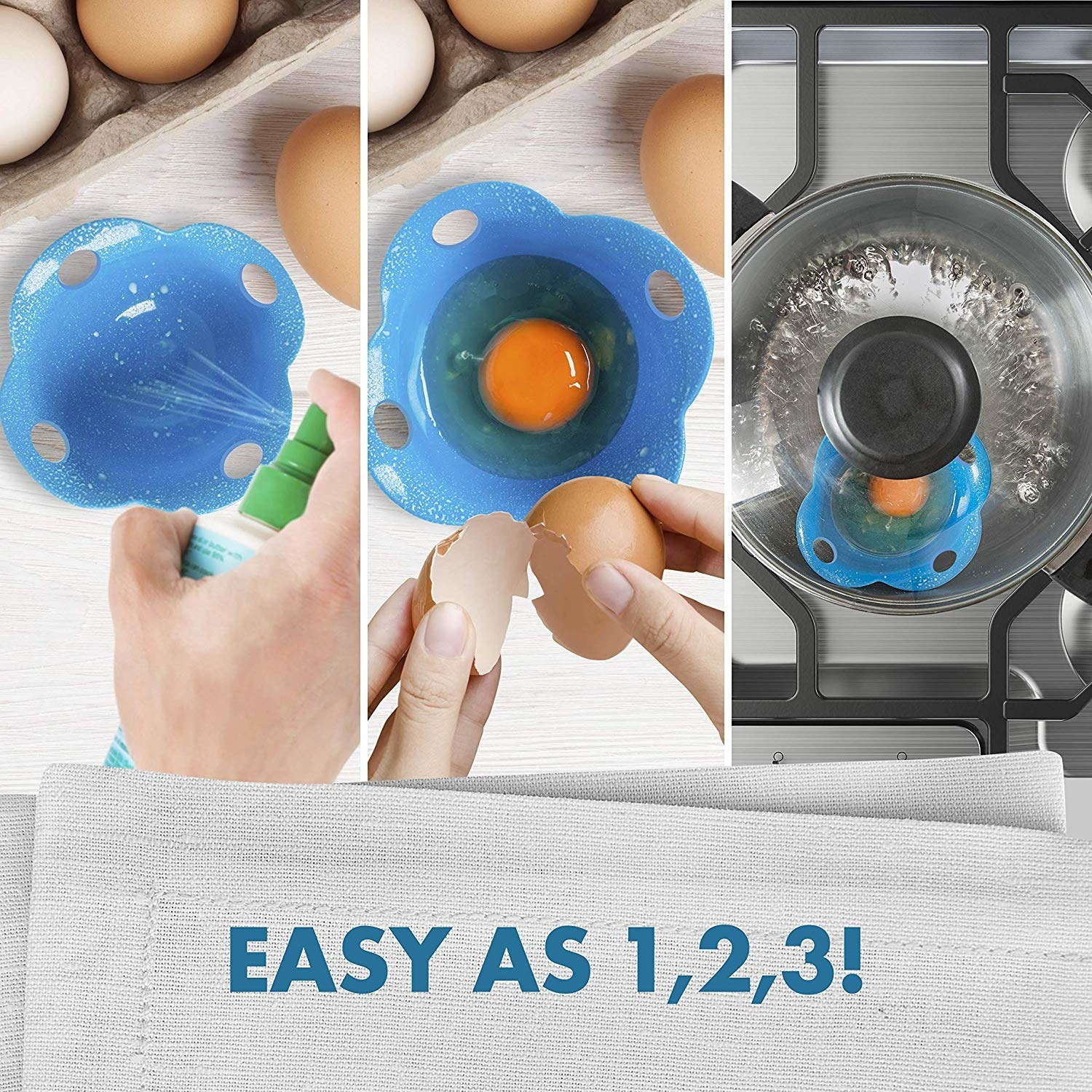 A graphic showing how to use the cups: spray oil inside, crack the egg, and boil the cup in a pot of water