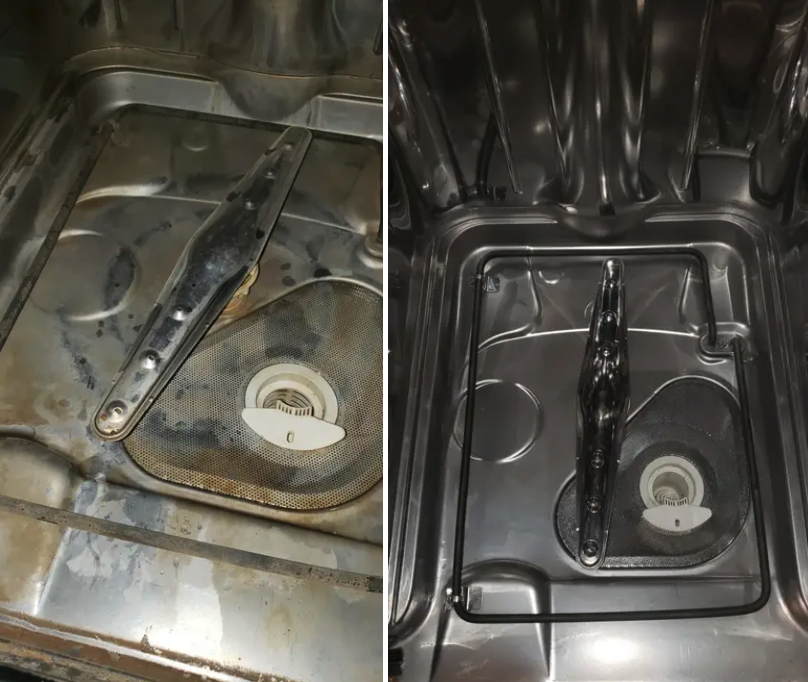 A before/after of a reviewer's dishwasher, dirty and stained before and shiny and new looking after