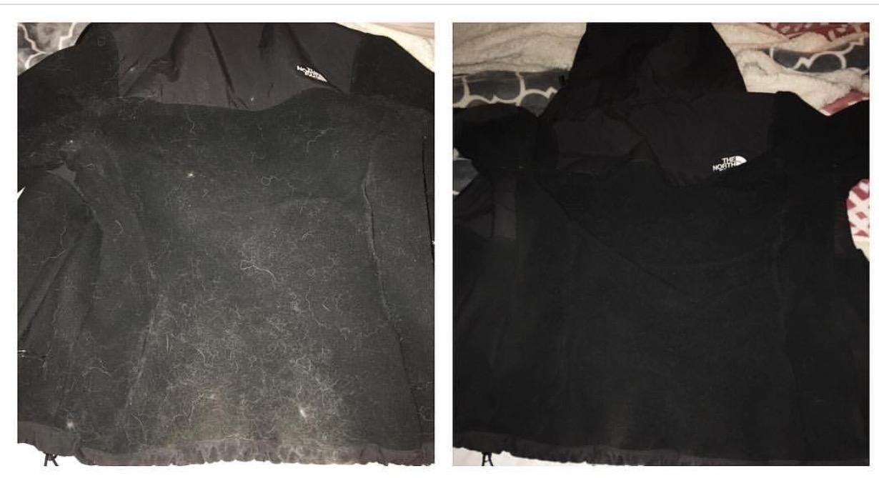 A reviewer's black clothing in two photos: covered in white pet hair on the left, and completely hair-free on the right