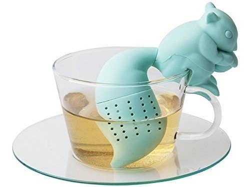 A squirrel-shaped tea leaf infuser.