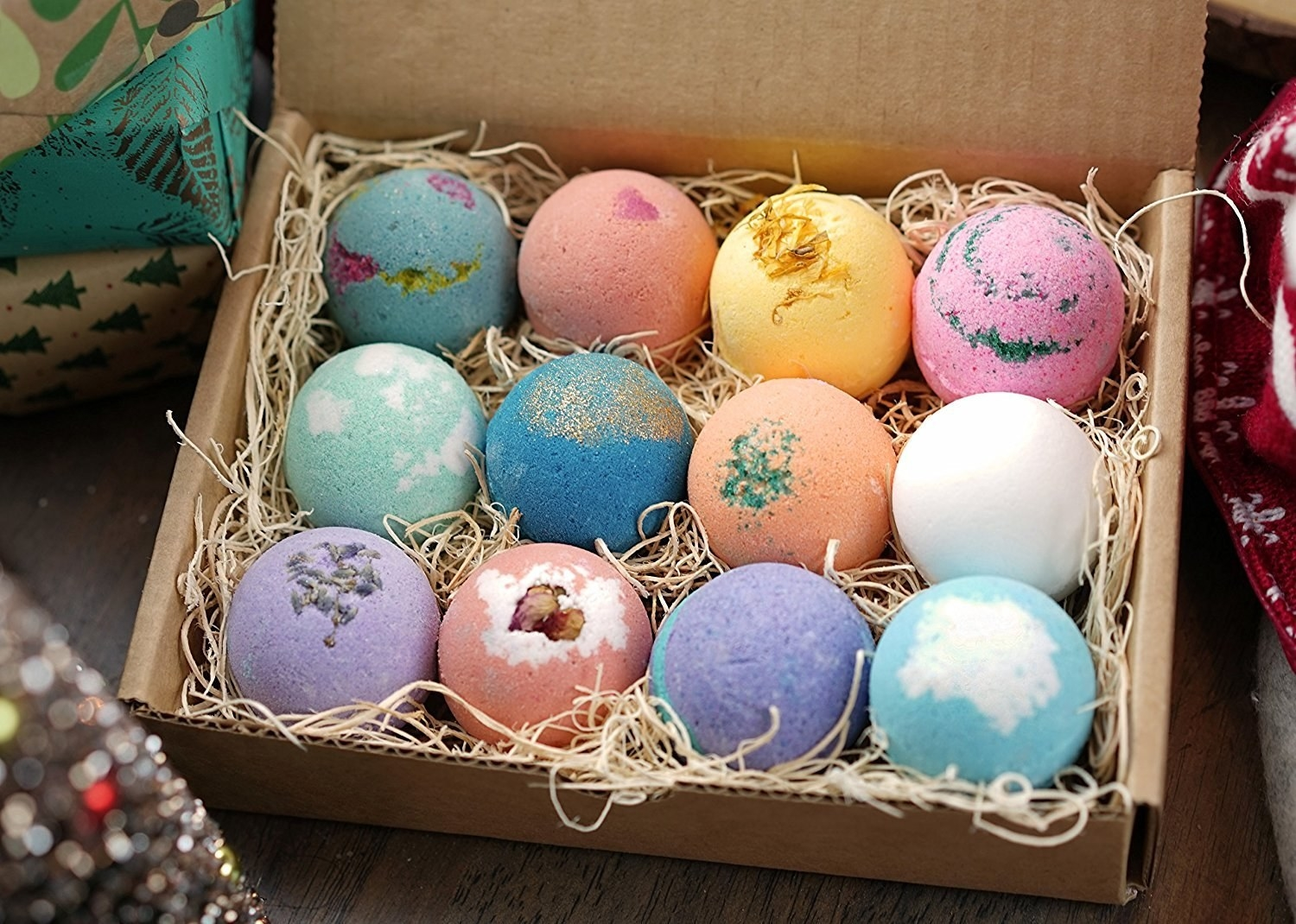 box of various color bath bombs