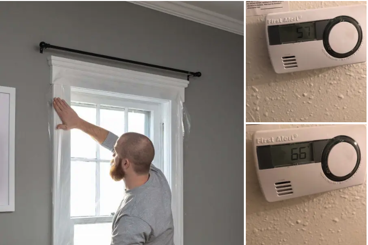 A model applying the clear insulation around a window, plus two reviewer photos showing the thermostat up 9 degrees thanks to the insulation retaining heat