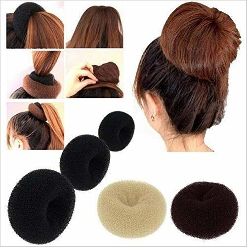 Image showing various sizes of the bun and how to apply them to your hair.