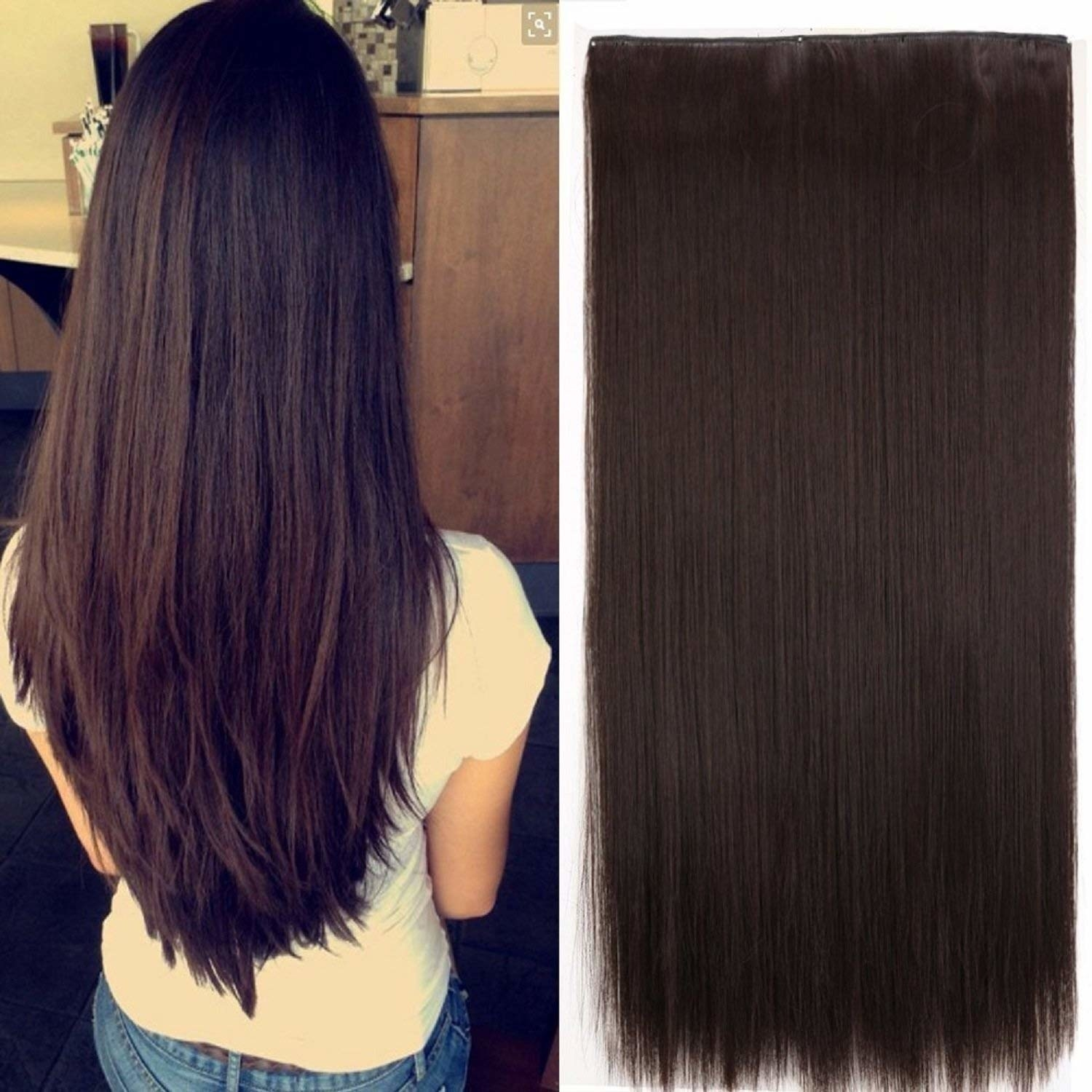 Image showing a person's hair with extensions put on, and the extensions itself side by side.
