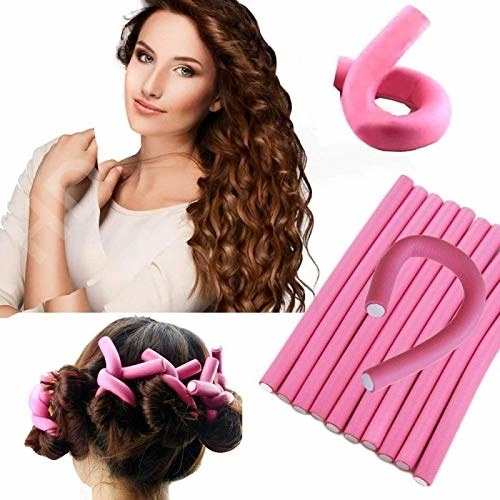Image showing the hair rollers, how they look when you apply them to your hair, and the result after using them.
