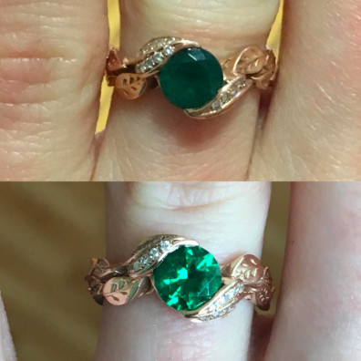 reviewer pic of dim, not bright ring with emerald on it, then after pic of the gleaming clean ring