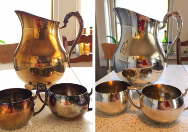reviewer's pic of heavily tarnished pitcher and cups, then the same looking silver after using the wipes