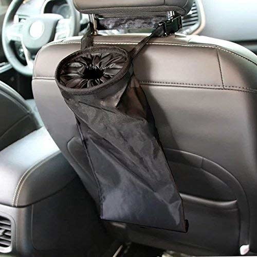 back of a car seat with narrow, long trash bag attached to the head rest