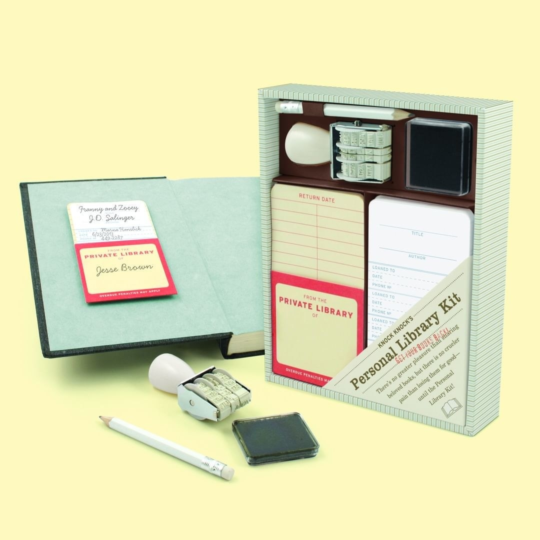 A personal library kit laid out on a table