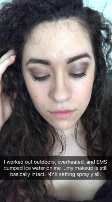 reviewer pic of makeup in place after emergency