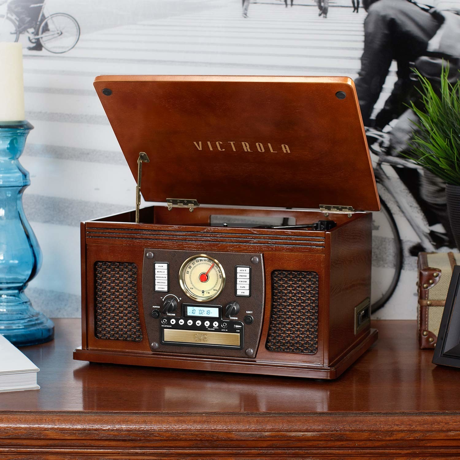 The retro music system with a hinged top record player