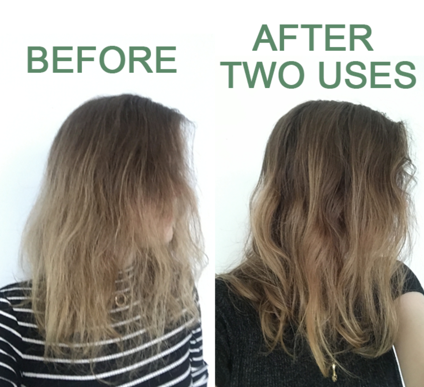 Bek, a BuzzFeed editor, showing her hair looking dry and frizzy at first, then looking smoother after using the product twice