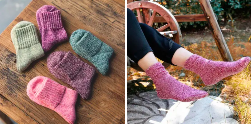 a side by side of the socks laid out on a table and someone wearing the pink ones