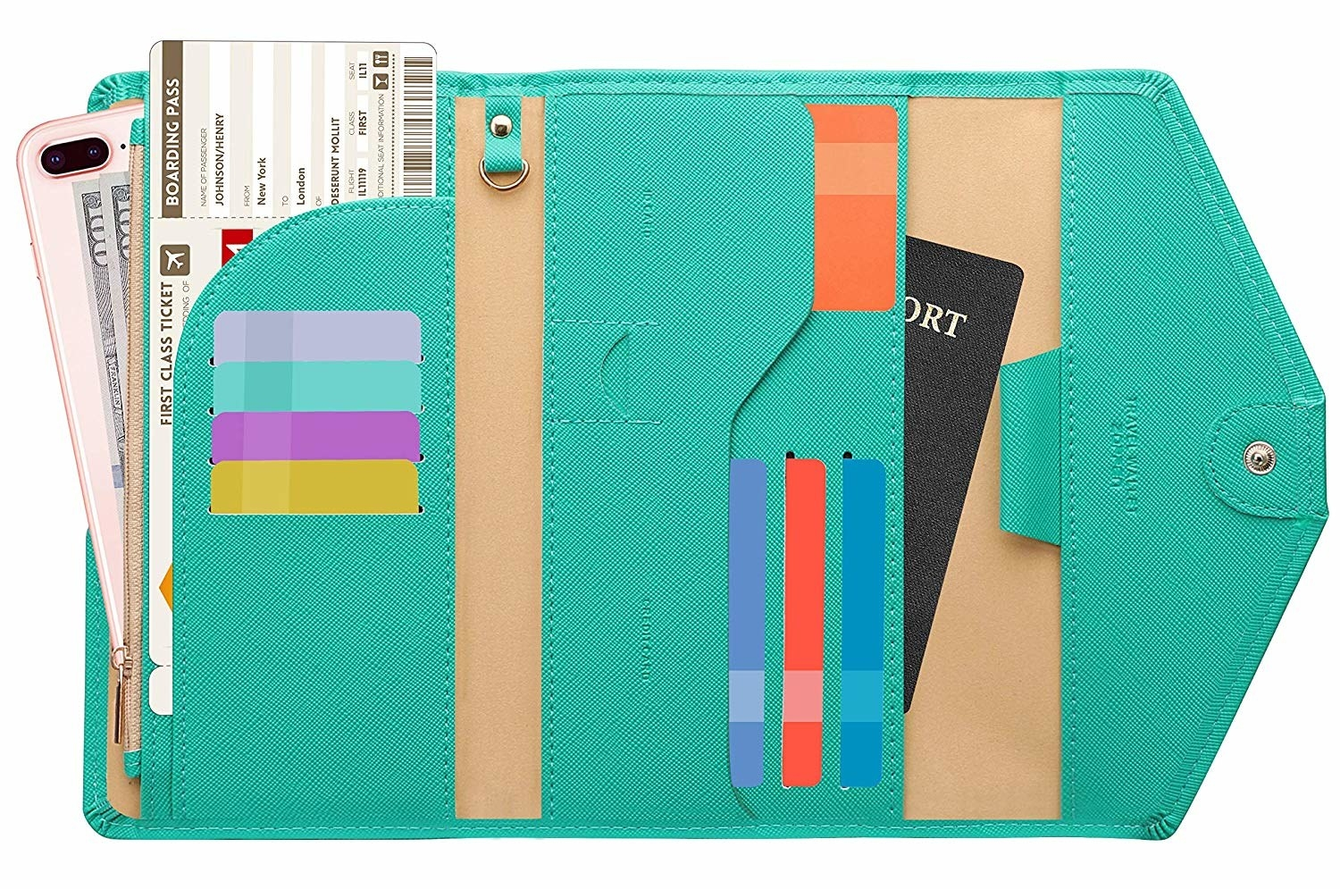 The wallet with a space for a passport, eight cards, a boarding pass, phone, and cash