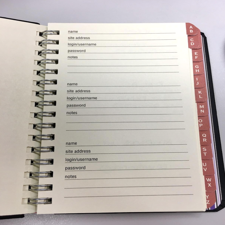 the log book opened to a blank page