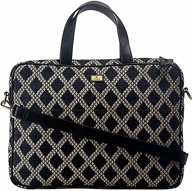 White and black patterned laptop bag.