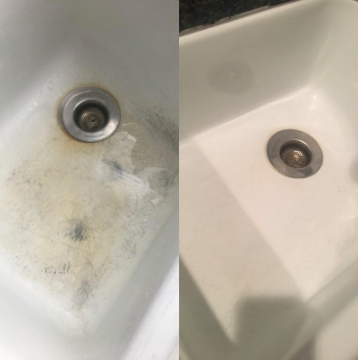 white porcelain sink with dark stains and then the same sink clean