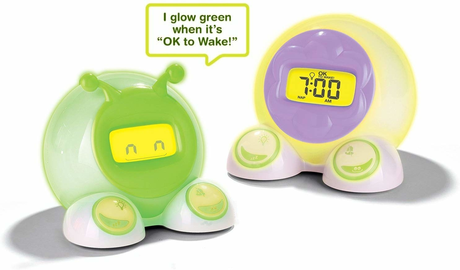 "alarm clocks that say ""I glow green when it's ok to wake!"""