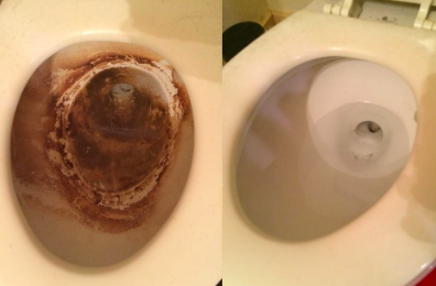 nasty looking toilet and then clean toilet