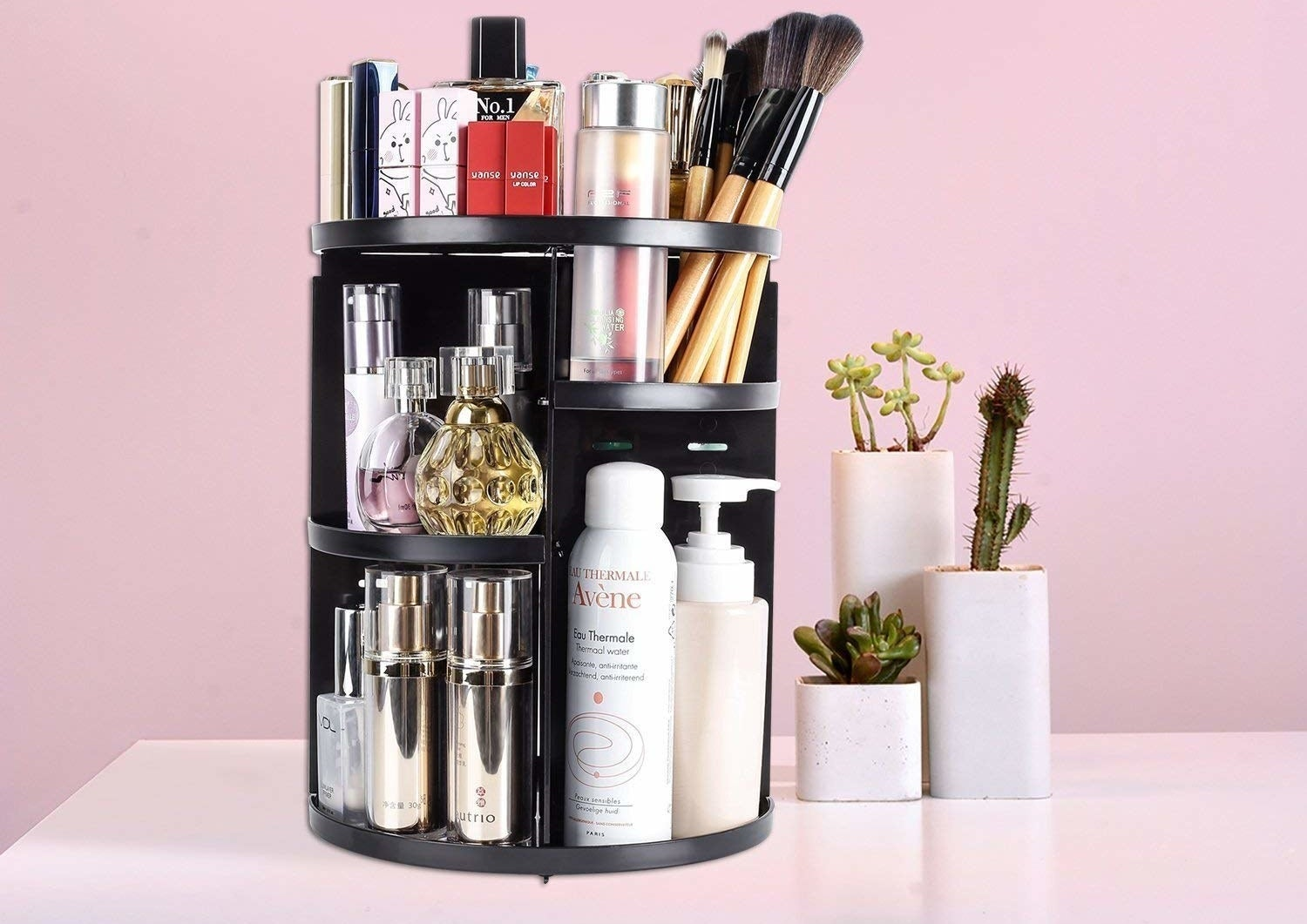 A multi-tiered shelf filled with beauty products