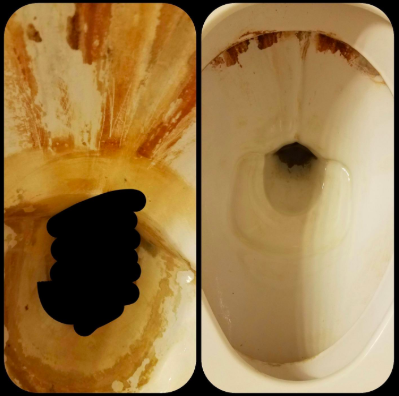 before pic of nasty looking stained toilet bowl then the same toilet bowl looking completely clean and new thanks to the pumice stone cleaning