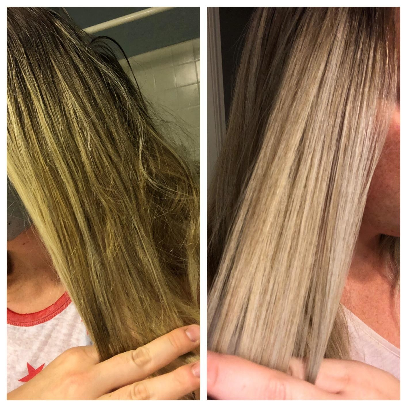 Reviewer photo showing before-and-after results using Fanola No Yellow Shampoo