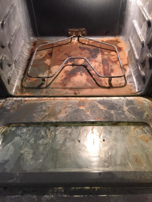 caked on disgusting interior of oven