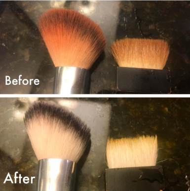 reviewer pic of blush and bronzer stained makeup brushes, then them looking new and clean thanks to the brush shampoo