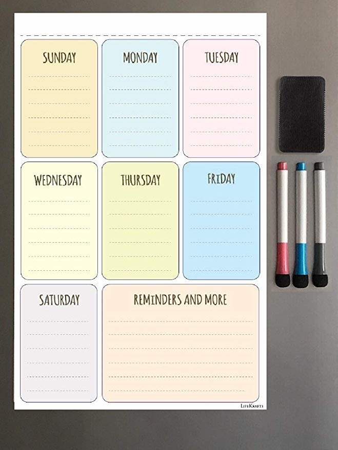 A magnetic weekly schedule board.