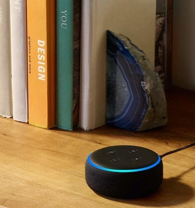 the Echo Dot in black