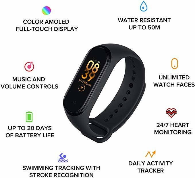 Black fitness watch with a digital display.