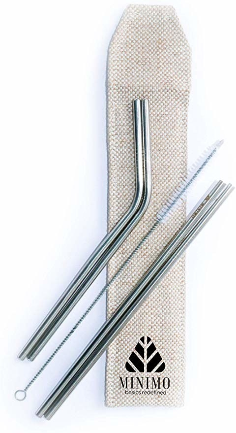 Four metal straws with a cleaner brush.