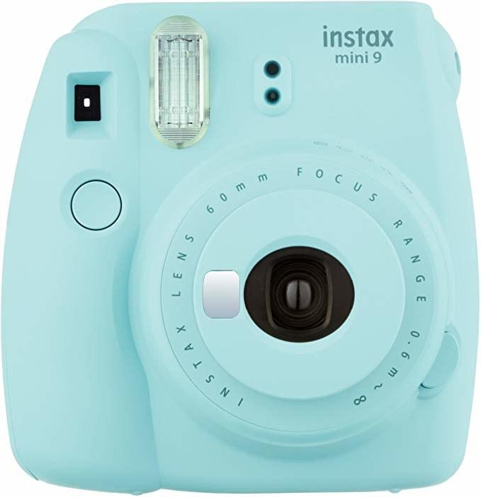 Blue Polaroid camera.