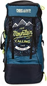 Hiking backpack with the words 'The Mountains are calling' printed on it.