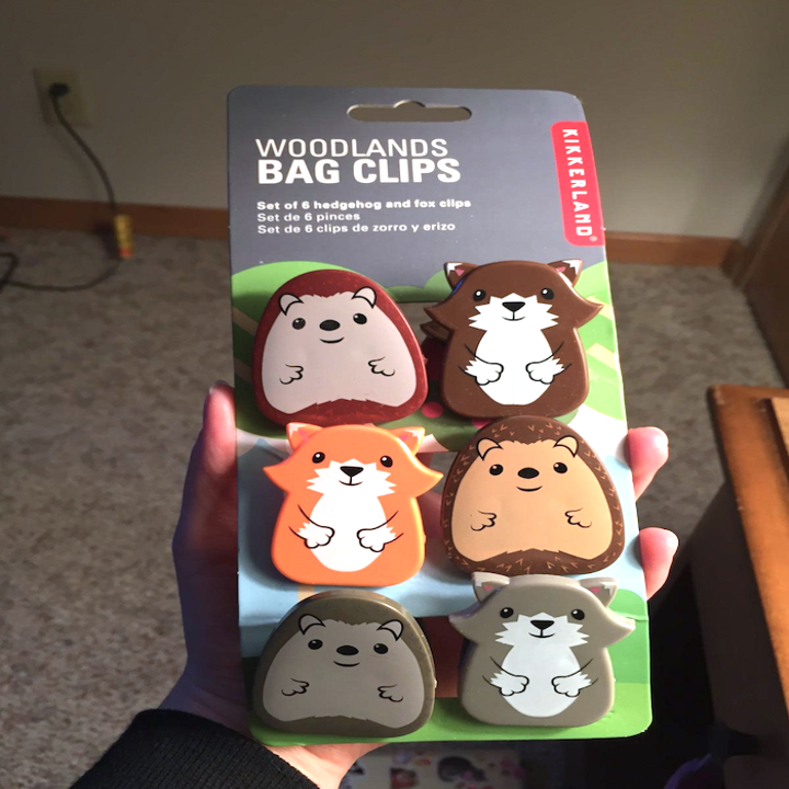 reviewer's hand holding the complete pack of clips