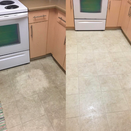 A customer review before and after photo of their dirty tile floor and then their clean tile floor