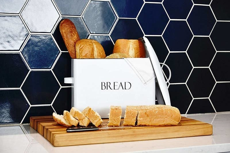 "white box that says ""bread"""