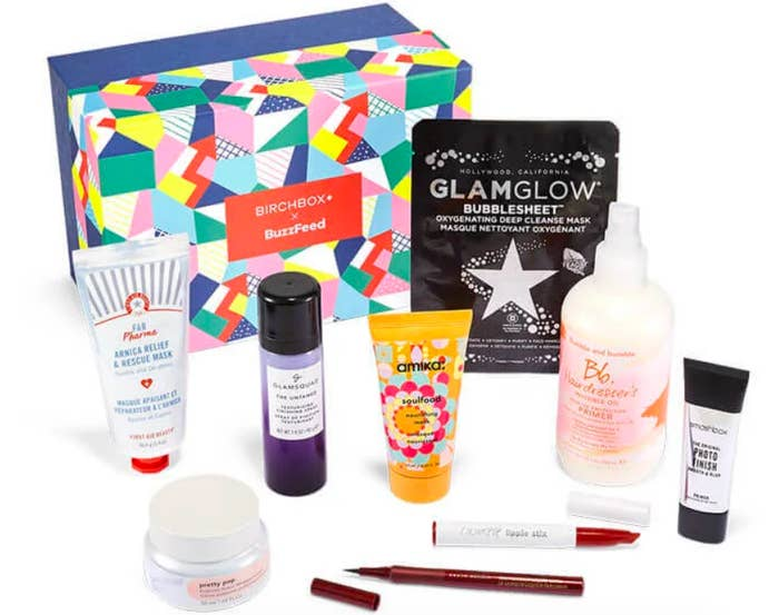 A shot of the shoebox-sized packaging and several beauty products found in the box