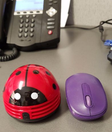 a reviewer's mini desk vacuum in the shape of a lady bug