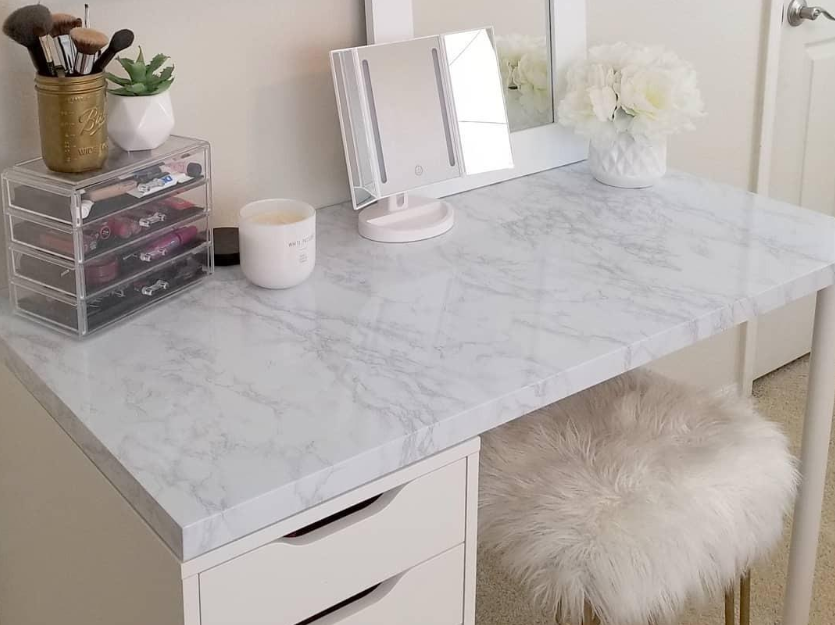 the marble paper attached to a desk top