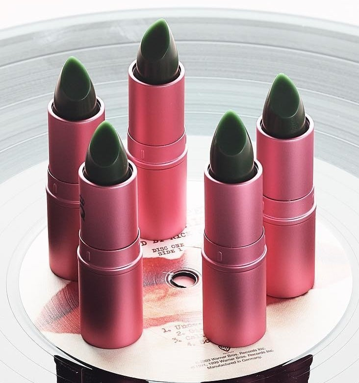 the green lipstick in a pink tube