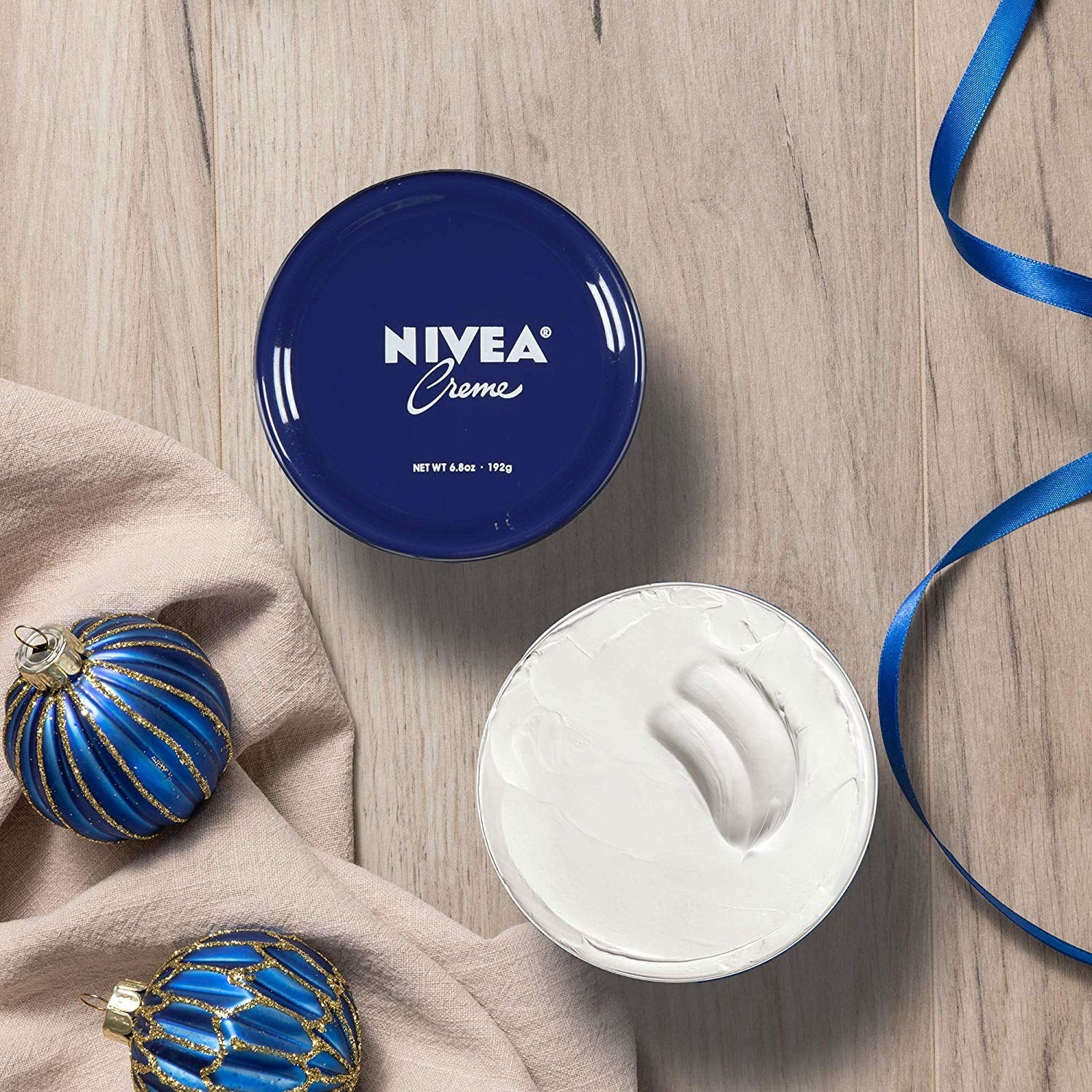 the blue tub of nivea cream