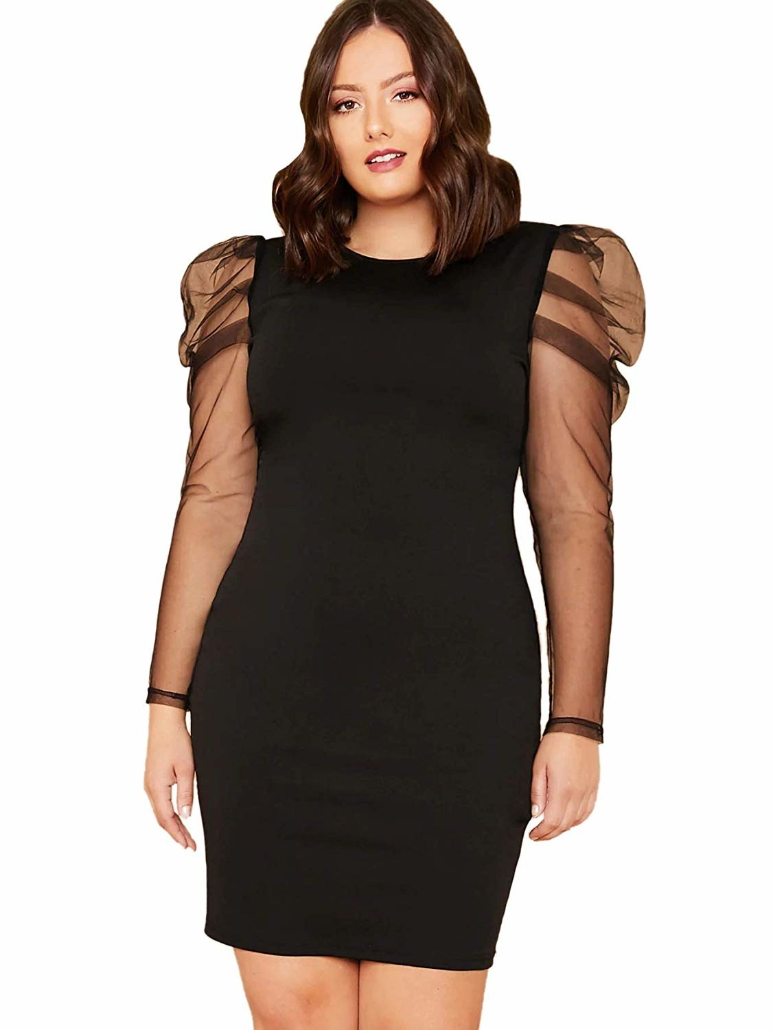 A model in the black mini dress with sheer puff-shoulder sleeves
