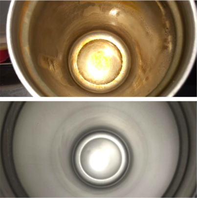 Above, the brown stained inside of a mug. Below, the inside looking silver like new