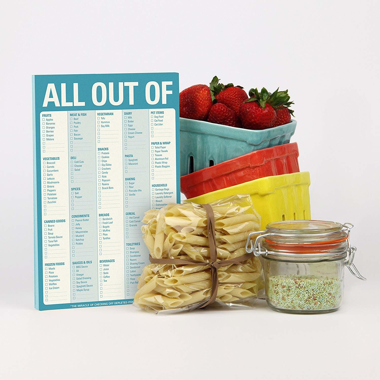 "The grocery checklist pad titled ""all out of"""