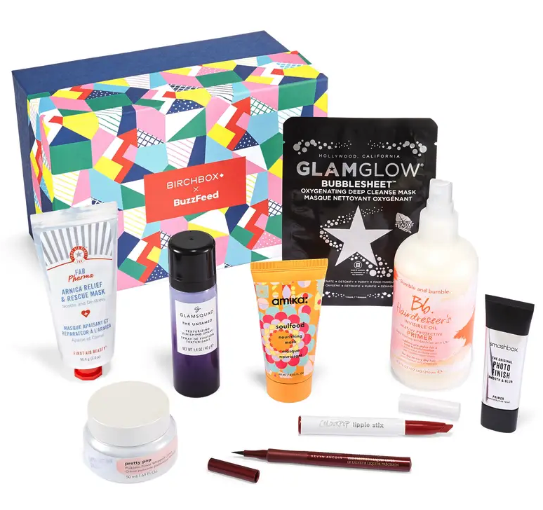an array of products in the specially curated buzzfeed birchbox
